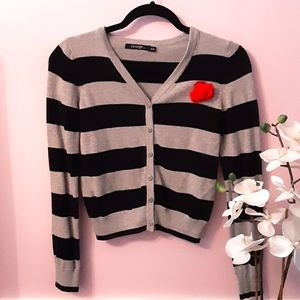 GIRLS: Black and grey striped cardigan